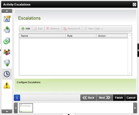 Figure 4 - Escalations screen