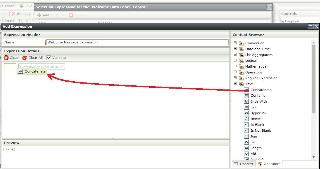 K2 SmartForms - Display Users Name - Add Concatenation Operator