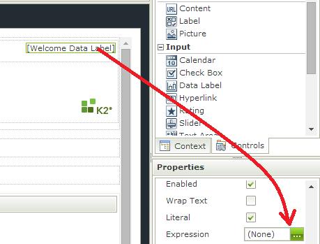 K2 SmartForms - Display Users Name - Add Data label expression