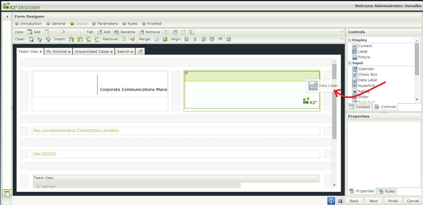 K2 SmartForms - Display Users Name - Add Data label