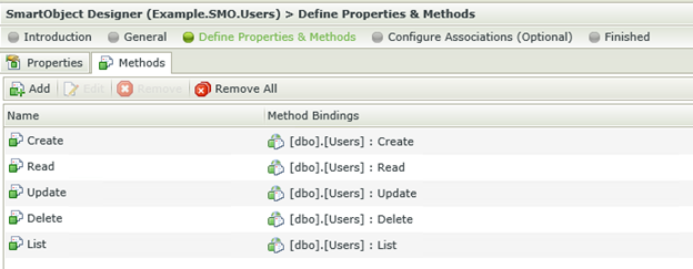 Figure 4 - List of methods available