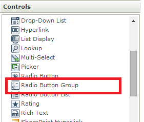 Figure 3 - The Radio button Group control