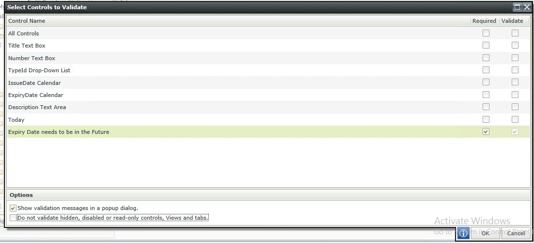 Image 7 - Complex Client Side Validation - Configuring the validation rule