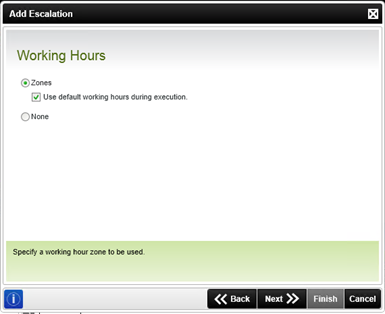 Figure 9 - Working Hours screen