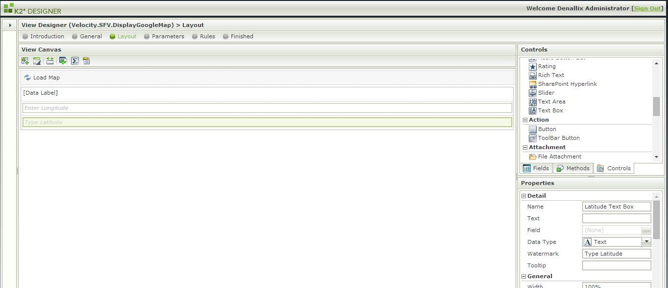 2 - SmartForm view with Longitude and Latitude Textboxes