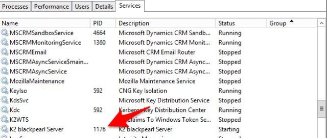 k2 server stuck - Identify K2 hostser process