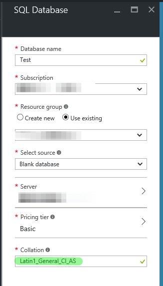 2 - Azure Database settings