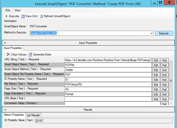 3 - Execute the PDF K2 SmartObject