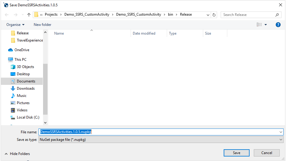 12 - Save NuGet Package - UIPath Custom Activity – Generate SSRS Report
